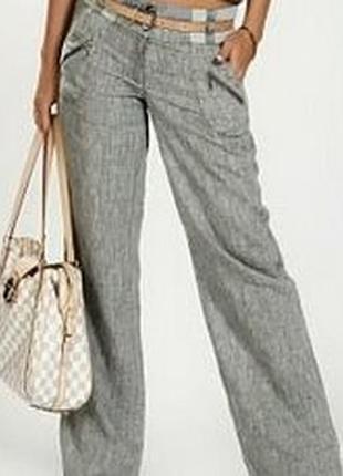 Canda premium серые льняные брюки большого размера
