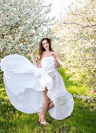 Белое воздушное платье из шифона сарафан для фотосессии