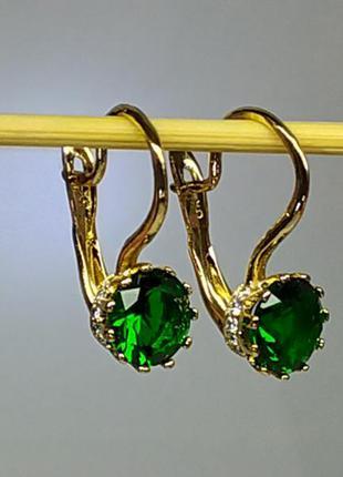 Позолоченные серьги с зеленым кристаллом и цирконами, сережки,...