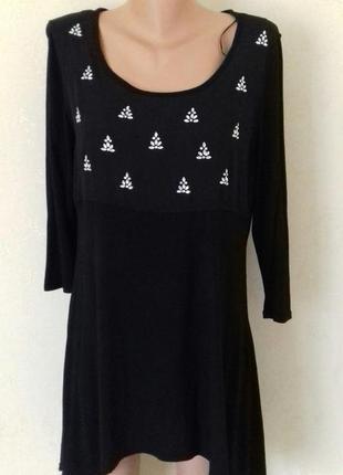 Новая трикотажная блуза -туника с украшением