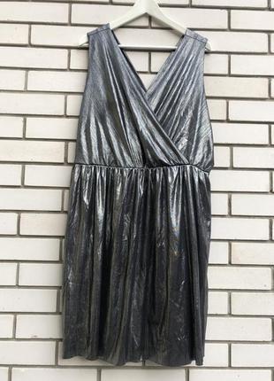 Вечернее,нарядное,серебристое(металик)платье,сарафан,открытая ...