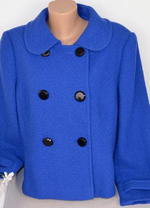 Синее демисезонное пальто полупальто debenhams турция шерсть б...