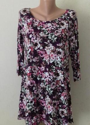 Трикотажная блуза-туника с принтом