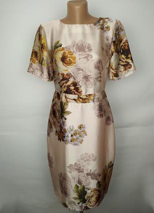 Платье футляр легкое красивое в цветочный принт uk 10/38/s