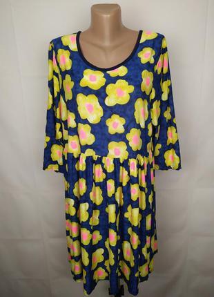 Платье стильное эластичное в принт цветы большой размер uk 20/...