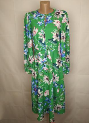 Платье новое зеленое мега модное в цветы h&m uk 12/40/m