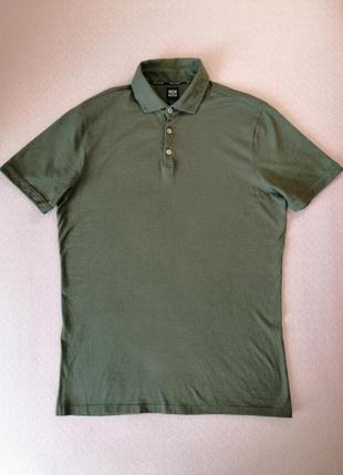 Поло boggi milano зеленого цвета с добавлением льна l