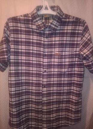 Рубашка в клетку мужская с коротким рукавом