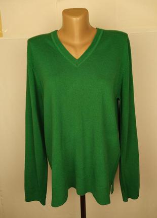 Джемпер кофта мягкая красивая зеленая v-образный вырез marks&s...
