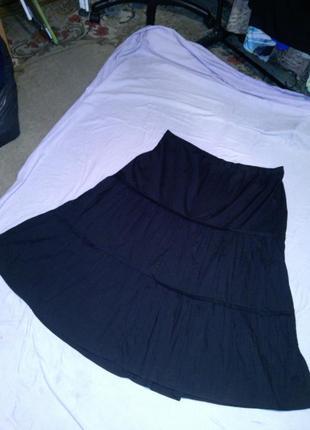 Длинная,ярусная,чёрная юбка,жатка,бохо стиль,большого размера,...