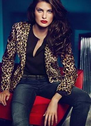 Брендовый леопардовый меховой пиджак жакет marks&spencer марок...