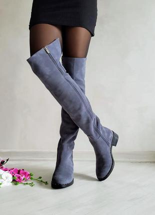 🔥 распродажа!!! замшевые зимние высокие сапоги ботфорты натура...