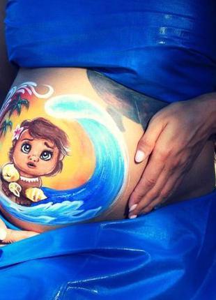 Аквагрим для беременных, рисунки на животике. Belly Art