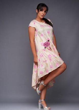 Шикарное платье коттон свободного кроя большие размеры