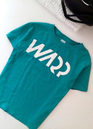 Бирюзовая футболка oversize, укроченная футболка топ с принтом...