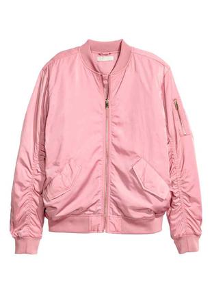 Розовый  деми бомбер, ветровка , куртка  оверсайз от h&m
