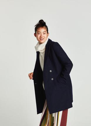 Теплое шерстяное двубортное пальто на пуговицах бойфренд свобо...