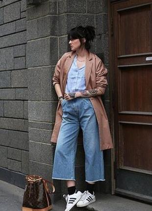 Роскошные джинсовые кюлоты с высокой посадкой укороченные джин...
