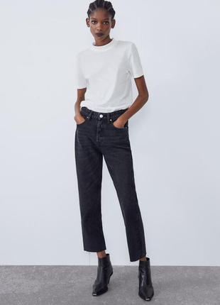 Базовые джинсы mom zara с высокой посадкой бойфренд мом  с с н...