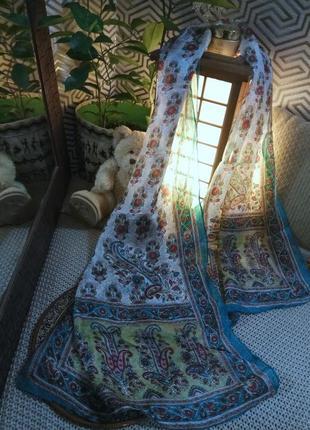 Шелковый  индийский шарф- палантин