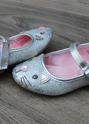 Туфли балетки в блесках primark котики 23 размер