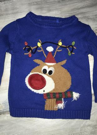 Новогодний свитер кофта next 9-12 мес