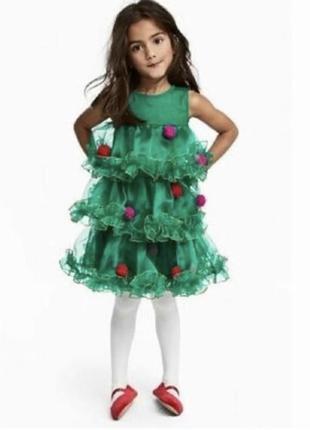 Новогоднее платье елочки h&m 3-4 года