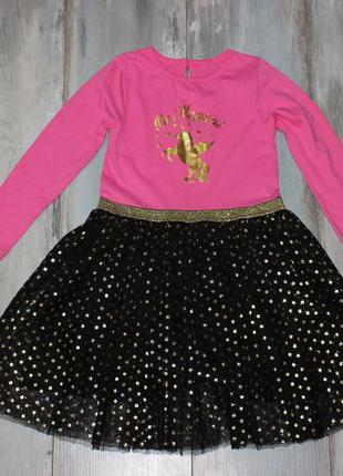 Платье с единорогом и звездами на 5-6 лет