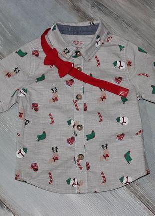 Новогодняя рубашка f&f 6-9 мес