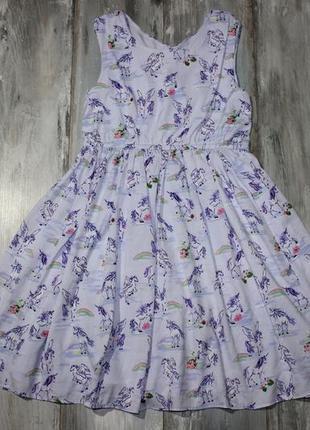 Нежное платье с единорогами на 11-12 лет