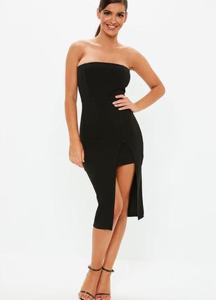 Роскошное платье бандо миди черное лаконичное с разрезом missg...