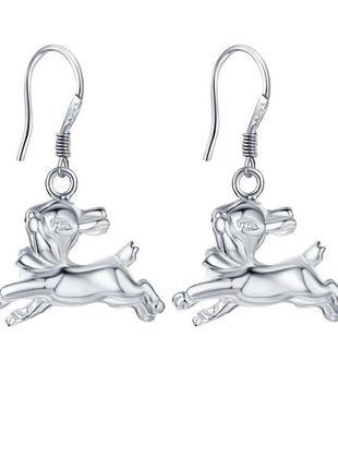 🏵 стильные серьги зайчики в серебре 925, новые! арт. 2206
