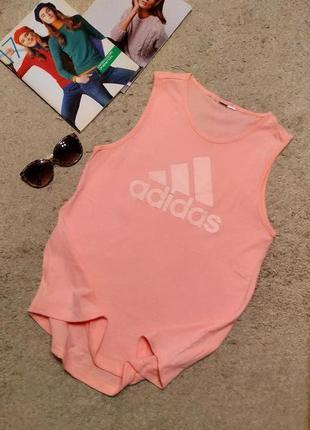 Adidas хлопковая маечка розово-персикового цвета