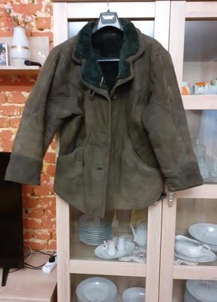 Натуральная дубленка +стеганная куртка  большого размера