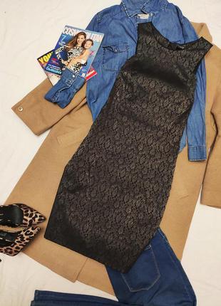 Orsay платье вечернее по фигуре чёрное с золотым принтом