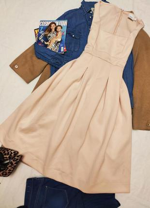 Asos maternity платье бежевое персиковое миди эластичное для б...
