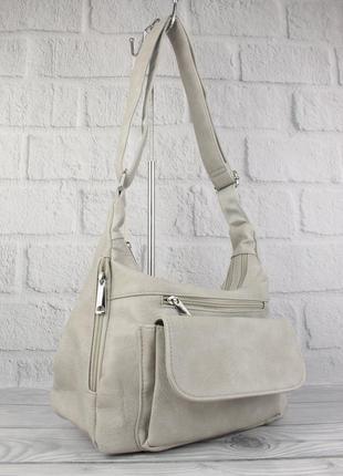 Мягкая, вместительная женская сумка paolo bags 238 светло-сера...