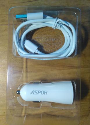 АЗУ Аspоr 2USВ /2.4A + USB кабель micro