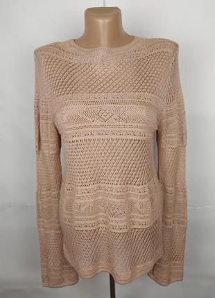Блуза кофточка новая бежевая шикарная ажурной вязки next uk 12...