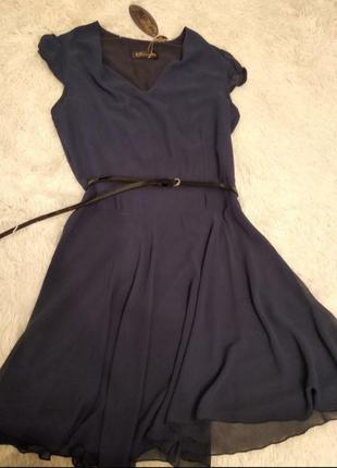 Новое шифоновое синее платье размер 40(46)
