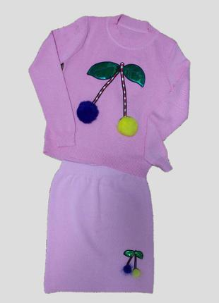 Трикотажный костюм для девочки : свитшот и юбка с меховыми поп...