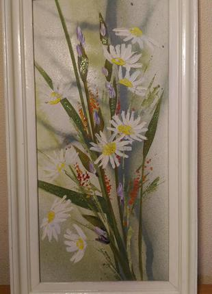 Картина полевые цветы масло мастихин