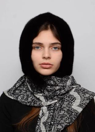 """Женский норковый платок """"паук"""" черный с белой тканью"""