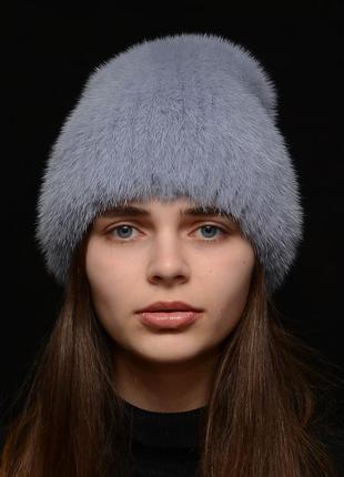 Женская зимняя норковая шапка кубанка хвостик лаванда