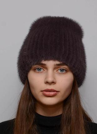 Женская зимняя норковая шапка кубанка хвостик чайная роза
