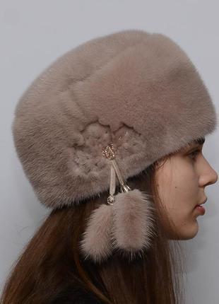 Женская зимняя норковая шапка кубанка мягкая капучино