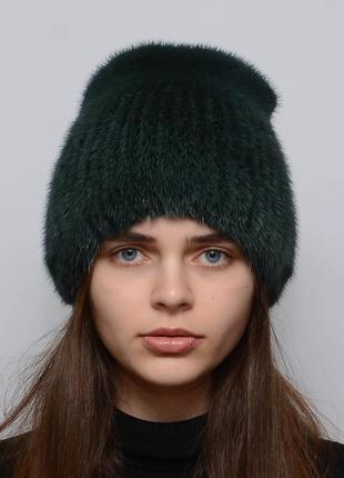 Женская зимняя норковая шапка кубанка хвостик изумруд