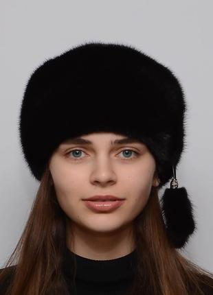 Женская зимняя норковая шапка кубанка мягкая черный