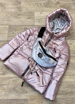 Супер хит весенняя куртка, светоотражающая сумка бананка в под...