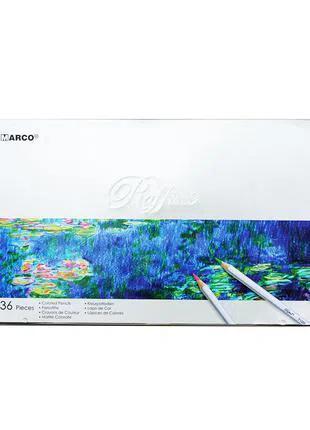 Карандаши цветные Marco Raffine 36 цветов в металл. кейсе 7100-36